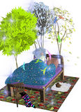 Girl dreams of a forest. A girl wakes up in her dream, imagining a magic forest around her bed, over a white background, 3D illustration, raster illustration Stock Photography