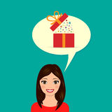Girl dreams of a gift. Vector illustration. Royalty Free Stock Photography