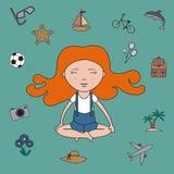 Girl dreams and meditation - vector Royalty Free Stock Image