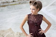 The girl in a dress stock images