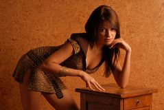 Girl in dress. Girl in leopard dress on the orange background is leaning on the bedside-table Stock Images