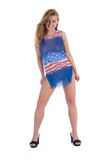 Girl in  dress from the American flag Royalty Free Stock Image