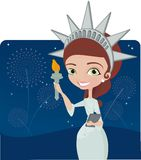 Girl dress as statue of liberty Royalty Free Stock Photo