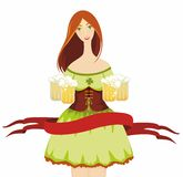 Girl dress with beer glasses Stock Photography