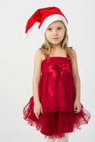 Girl in dress in the bell Santa Claus Royalty Free Stock Photos