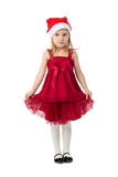 The girl in dress in the bell Santa Claus Stock Photography