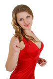 Girl in  dress with the big breast. Girl in a red dress with the big breast Stock Photos