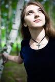 Girl in a dress in a birch grove. Cute girl in a dress in a birch grove Stock Photography