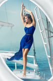 Girl dress blue sea yacht stock photos