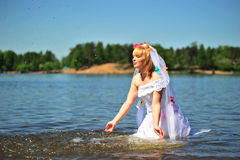 The girl in a dress of the bride Stock Image