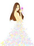 Girl in dress from butterflies. Vector illustration Stock Photos