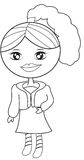 Girl in a dress with a coat coloring page Stock Images