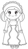 Girl in a dress coloring page Royalty Free Stock Image