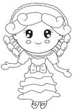Girl in a dress coloring page Royalty Free Stock Photography
