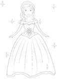 Girl in a dress coloring page Stock Images