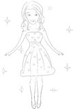 Girl in a dress coloring page Stock Photography