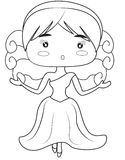 Girl in a dress coloring page Stock Photos
