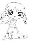 Girl in a dress coloring page. Useful as coloring book for kids Stock Photo