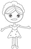 Girl in a dress coloring page Royalty Free Stock Photos