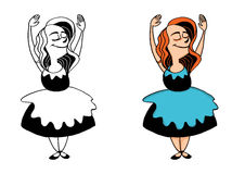 Girl in a dress dances Royalty Free Stock Photo