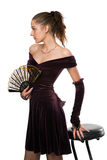 Girl in dress with a fan Royalty Free Stock Photos