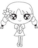 Girl in a dress with a flower coloring page Royalty Free Stock Photography