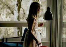 Girl, Dress, Gown, Long Hair Royalty Free Stock Photos