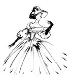 girl in a dress and hat drawing in black and white, Royalty Free Stock Photo
