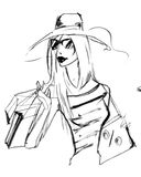 Girl in a dress and hat ink drawing in black and white, shopping Royalty Free Stock Photo