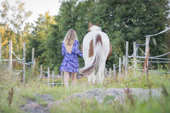 Girl in dress with horse Stock Photography