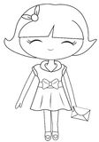 Girl in a dress with a mail coloring page Royalty Free Stock Images
