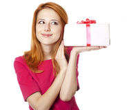 Girl in dress with present box Royalty Free Stock Photo