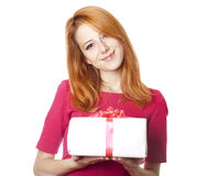 Girl in dress with present box Royalty Free Stock Image