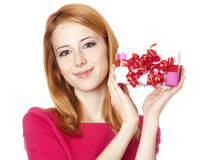 Girl in dress with present box Royalty Free Stock Photos
