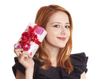Girl in dress with present box Stock Photo