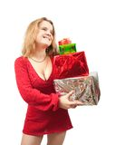 Girl in dress with  present boxes Stock Photography