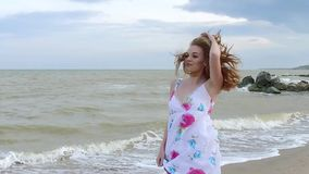 Girl in dress. stock footage
