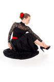 Girl in dress sitting dancer Stock Photo