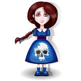 Girl in a dress with a skull Royalty Free Stock Photo