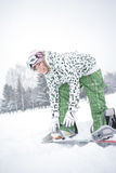 Girl Dress Snowboard Royalty Free Stock Photography