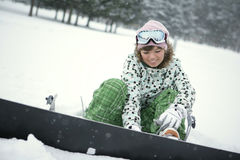 Girl Dress Snowboard Royalty Free Stock Photo