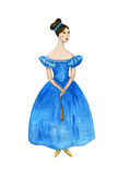 The girl in the dress of the 19th century. Watercolor. Royalty Free Stock Photo