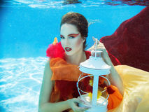 Girl in dress underwater in the swimming pool Royalty Free Stock Photos