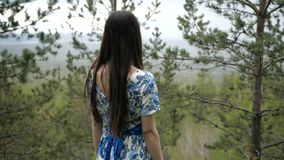 Girl in dress is walking in the forest stock footage