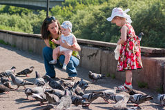 Girl in a dress and a white hat feeding pigeons Royalty Free Stock Photos