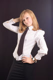 Girl dressed as a business lady Stock Photos