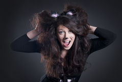 Girl dressed as a cat Stock Photo