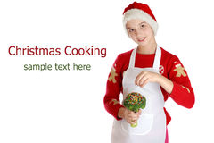 Girl dressed as a Christmas elf on background. Royalty Free Stock Image