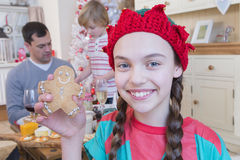 Girl dressed as elf at Christmas Time. Stock Images