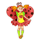 Girl dressed as ladybug for  Christmas Royalty Free Stock Image